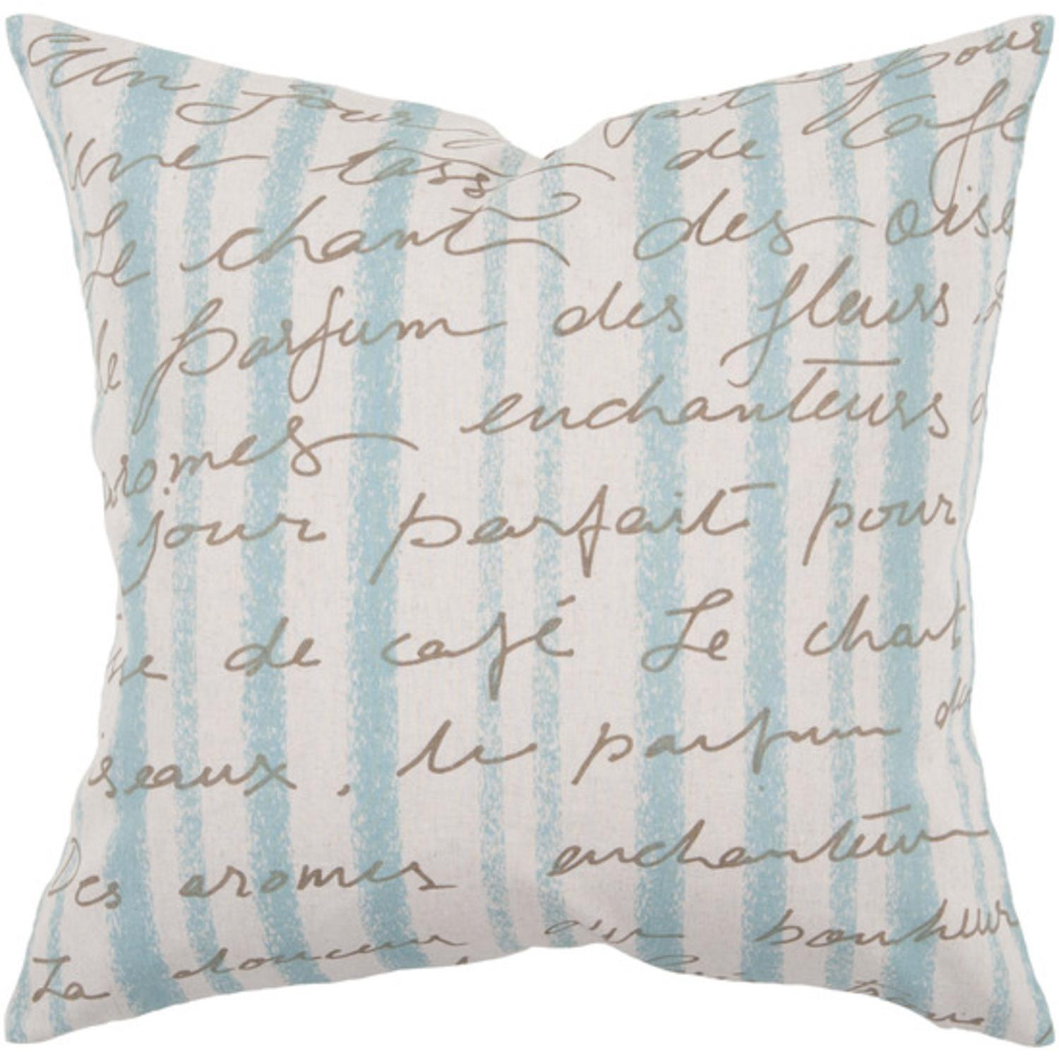 "18"" Sea Blue and Ivory Stripes with French Text Decorative Down Throw Pillow"