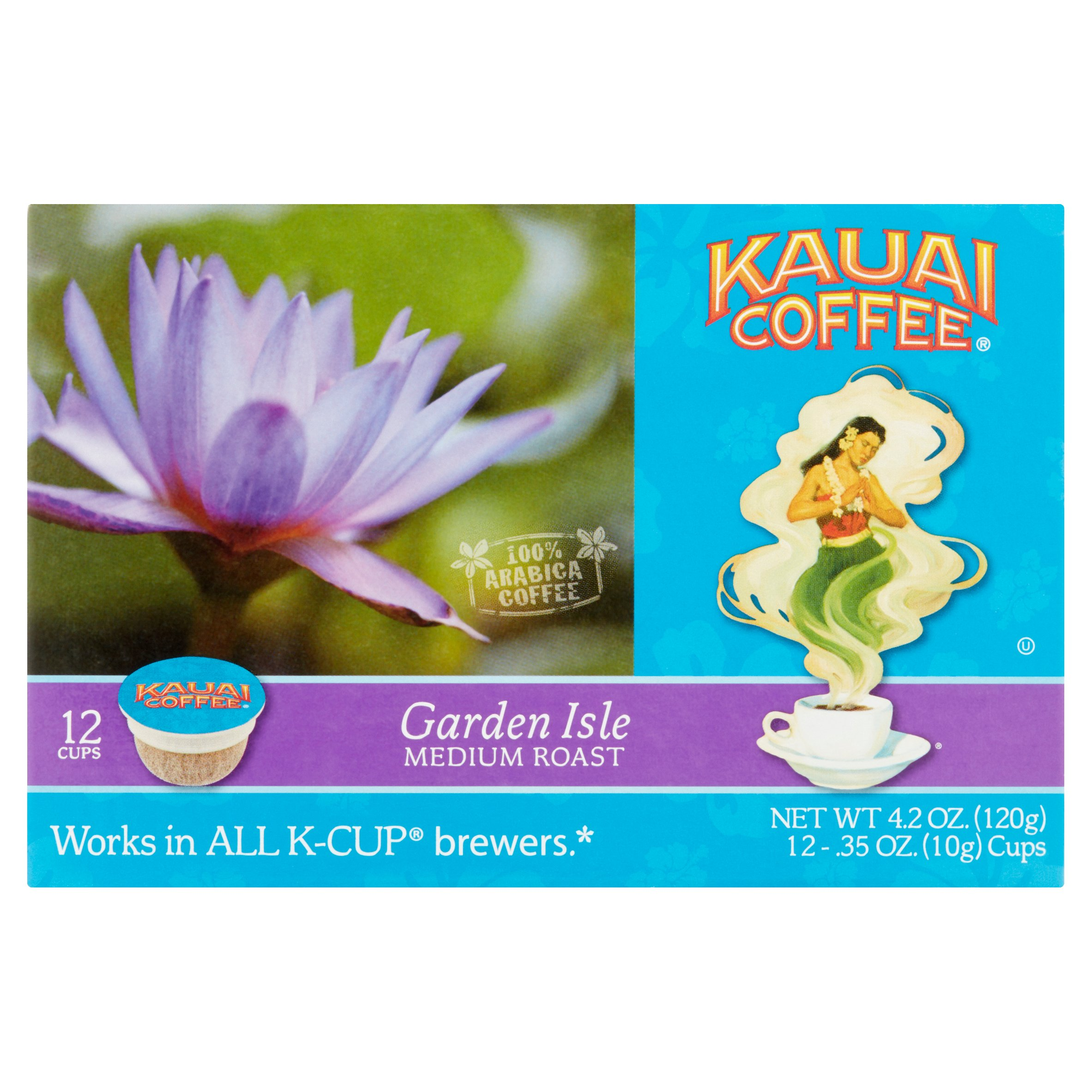 Kauai Coffee Garden Isle Medium Roast Hawaiian Single Serve Cups, 12 Count Box