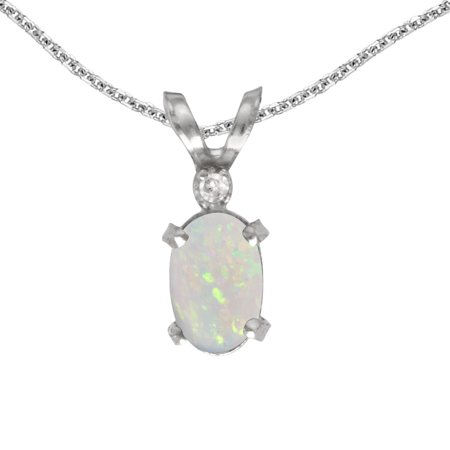 """14k White Gold Oval Opal And Diamond Filigree Pendant with 18"""" Chain"""