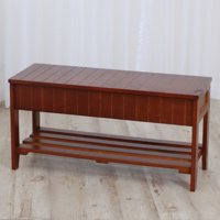 Roundhill Furniture Solid Wood Shoe Storage Bench