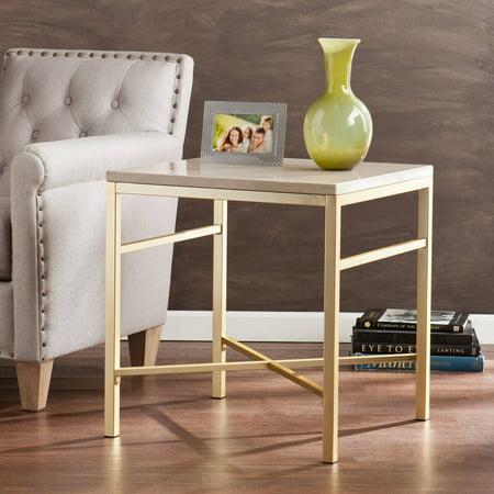 Southern Enterprises Theodora Faux Stone End Table, Cream