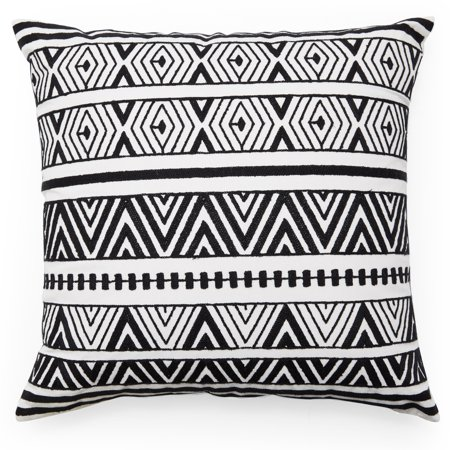 MoDRN Industrial Black and White Zig Zag Decorative Throw Pillow, 20