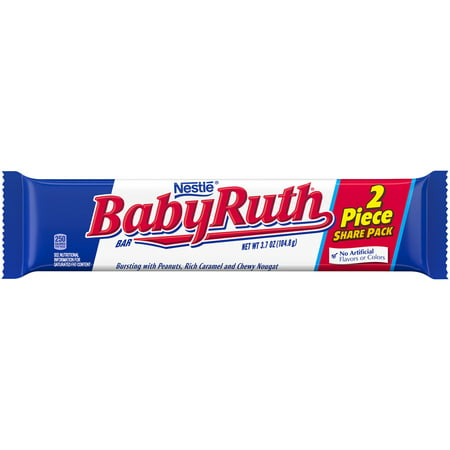 Baby Ruth Share Pack Chocolate Candy Bar, 3.7oz (Box of 18)