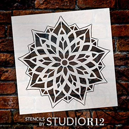 "Mandala - Glass - Complete Stencil by StudioR12 | Reusable Mylar Template | Use to Paint Wood Signs - Pallets - Pillows - Wall Art - Floor Tile - Select Size (9"" x 9"")"