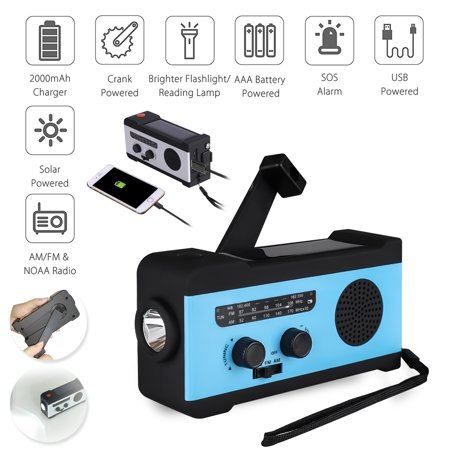 Emergency NOAA Weather Crank with AM/FM, TSV Portable Solar Powered Hand Crank Radio with 2000mAh Battery Power for Cell Phone, Bright LED Flashlight for Household Emergency and Outdoor Survival