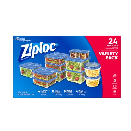 Ziploc Variety Pack Containers and lids: Extra Small Square, Small square, Medium Square, Small Twist N Loc, 24 count (Food Storage Small)