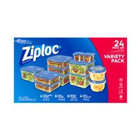 Ziploc Variety Pack Containers and lids: Extra Small Square, Small square, Medium Square, Small Twist N Loc, 12 count