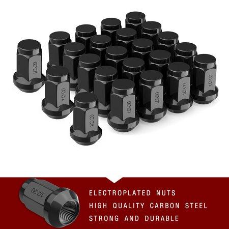 23 Black 1/2-20 Wheel Lug Nuts Bulge Acorn for Ford Dodge Jeep Wrangler JK TJ CJ (Jeep Wagoneer Lug Nut)