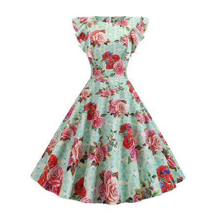 Women's Party Dresses 50s 60S Flared Pin Up Evening Housewife Swing Sundress (Pin Up Style Dresses)
