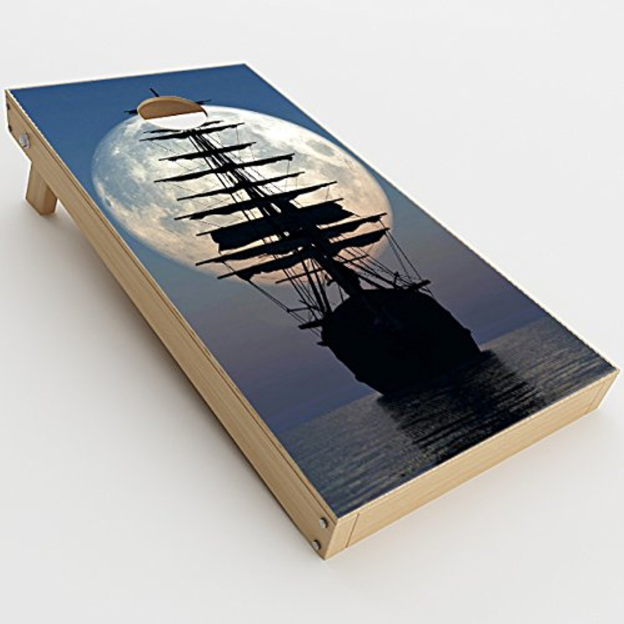 Skin Decals Vinyl Wrap for Cornhole Game Board Bag Toss (2xpcs.)   tall Sailboat, ship in full Moon by