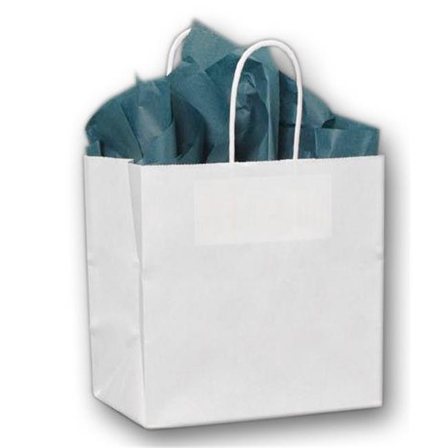 Bags & Bows by Deluxe 15-080508-9M White Paper Shoppers Ruby - Case of 250