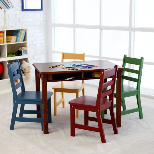 Lipper Childrens Walnut Rectangle Table and 4 Chairs