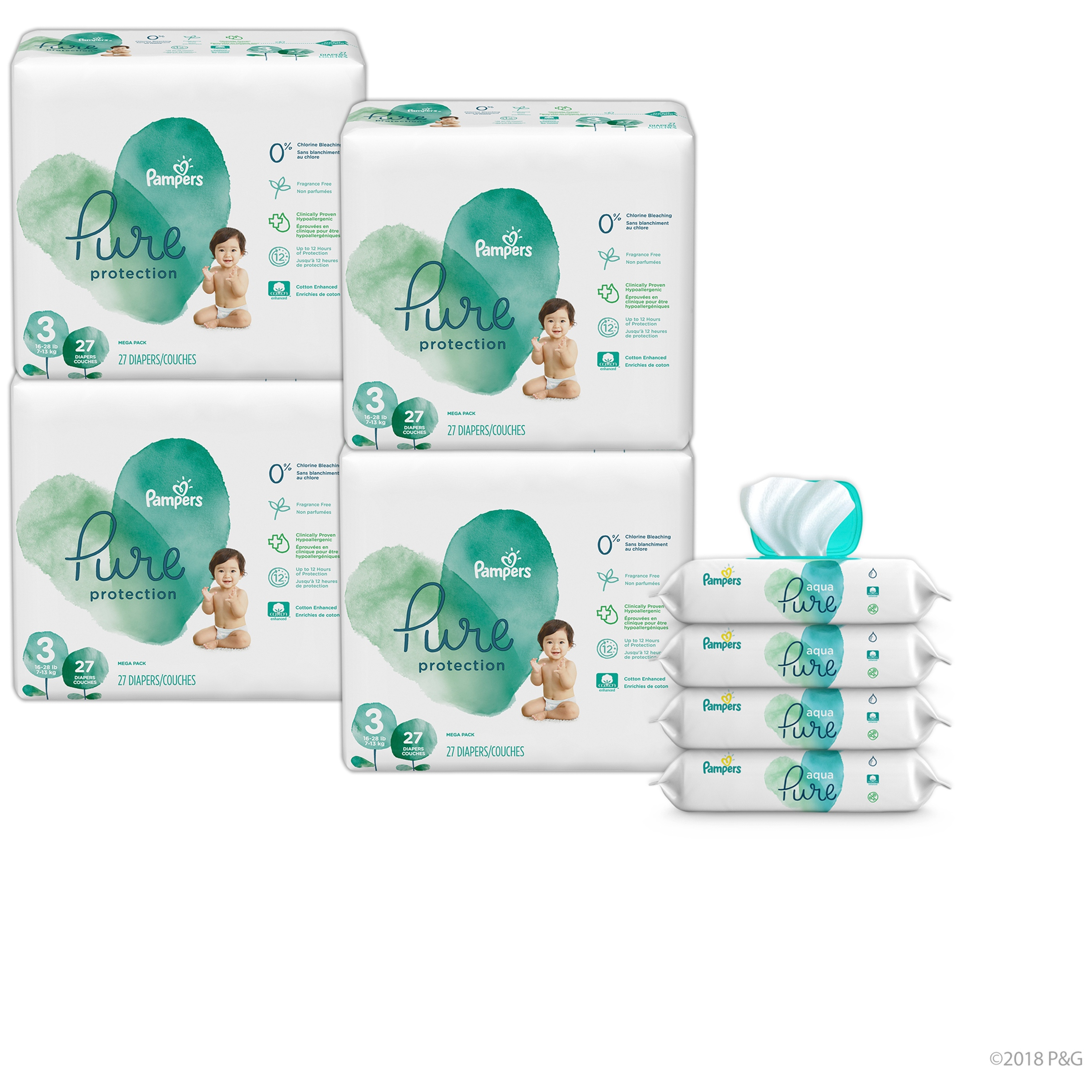 Pampers Pure Protection Bundle with Diapers Size 3 and Wipes