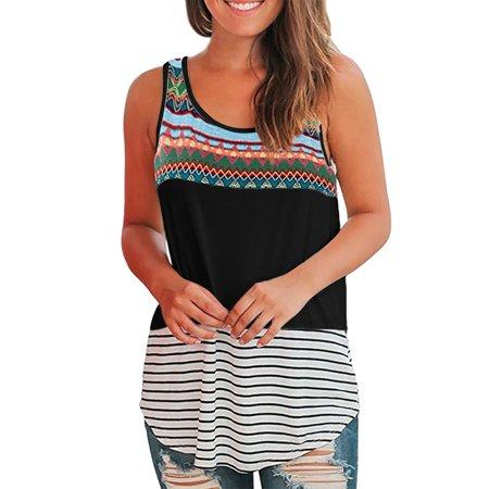 Womens Boho Sleeveless Vest Casual Tank Tops Holiday Tunic T-Shirt