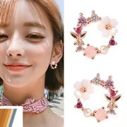 Sweet Metal Flower Pearl Butterfly Diamond Earrings Women's Jewelry