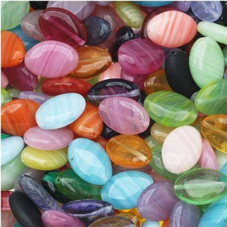 Czech Glass Oval Beads in Assorted Colors & Sizes