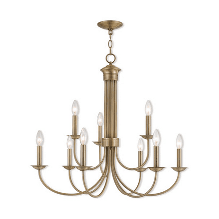 Light Antique Brass Crystal - Chandeliers 6 Light With Antique Brass Candelabra 30 inch 360 Watts - World of Crystal