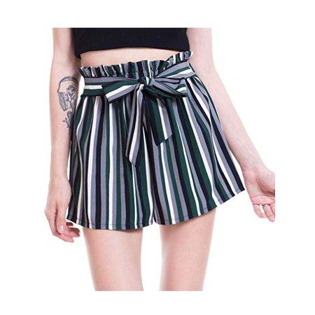 LELINTA Women's Casual Stripe Ruffle Bow-Tie Elastic Waist Summer Beach Jersey Walking Shorts Black/ Red/ Yellow Color S-XL