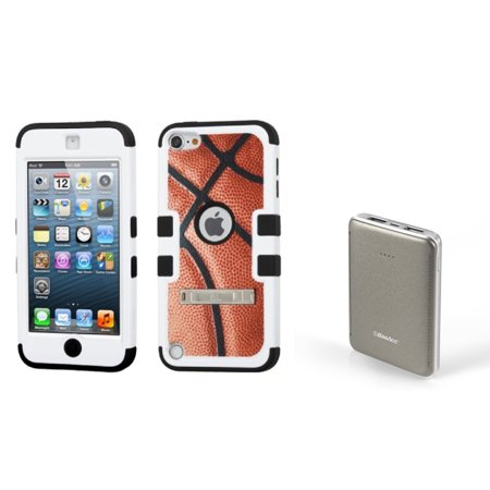 Insten Basketball Sports Collection/Black Hybrid Case For iPod Touch 6 6th  5 5th Gen (with 6000mAh USB Portable Charger)