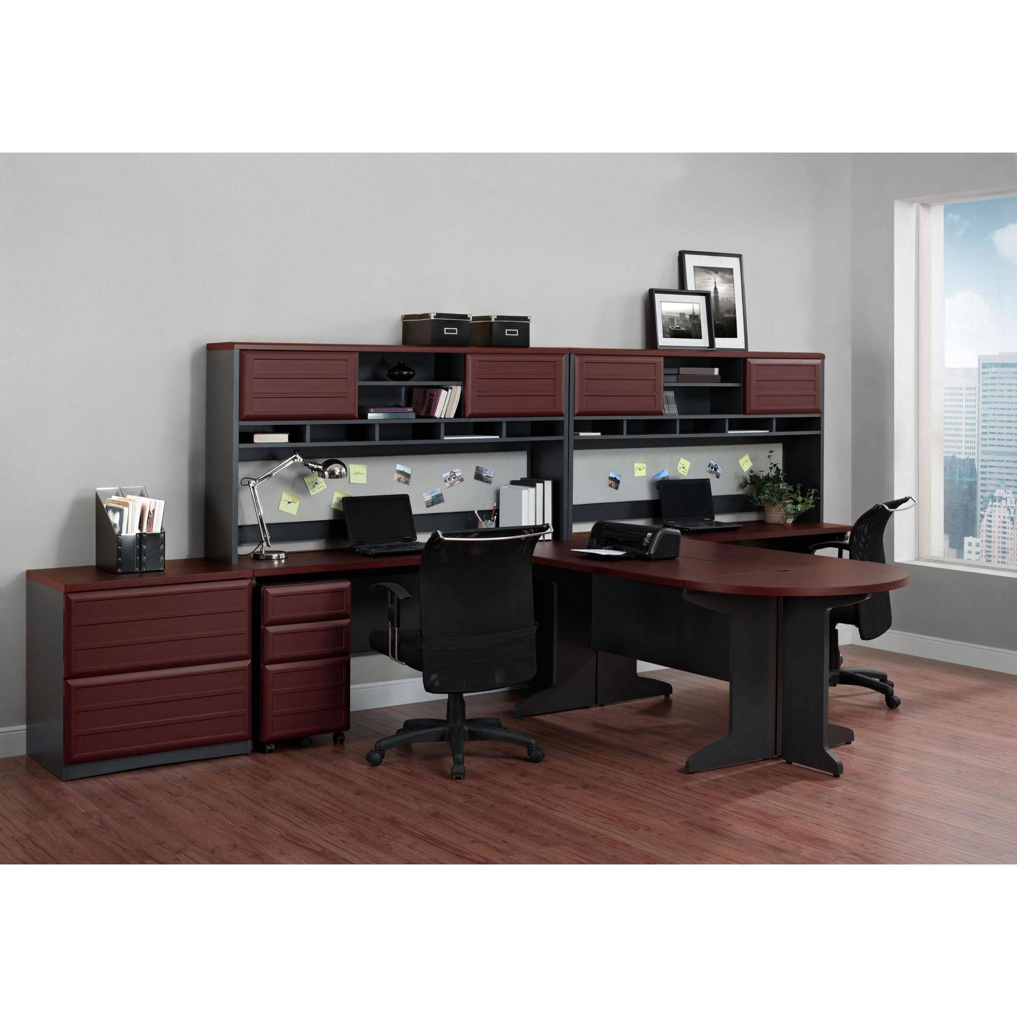 ameriwood home pursuit executive desk, cherry/gray - walmart