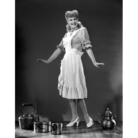 Joan Davis posed in Maid Outfit in Black and White Photo Print