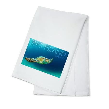 Big Island, Hawaii - Sea Turtle Swimming - Lantern Press Photography (100% Cotton Kitchen Towel)
