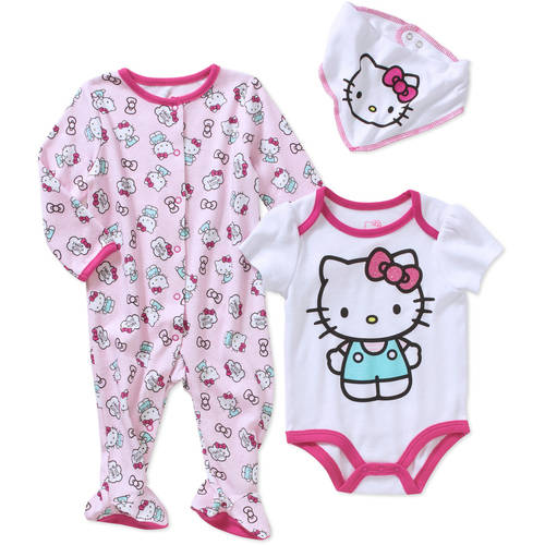 Hello Kitty Newborn Baby Girl Footed Sleeper, Bodysuit, and Bib 3-Piece Layette Set