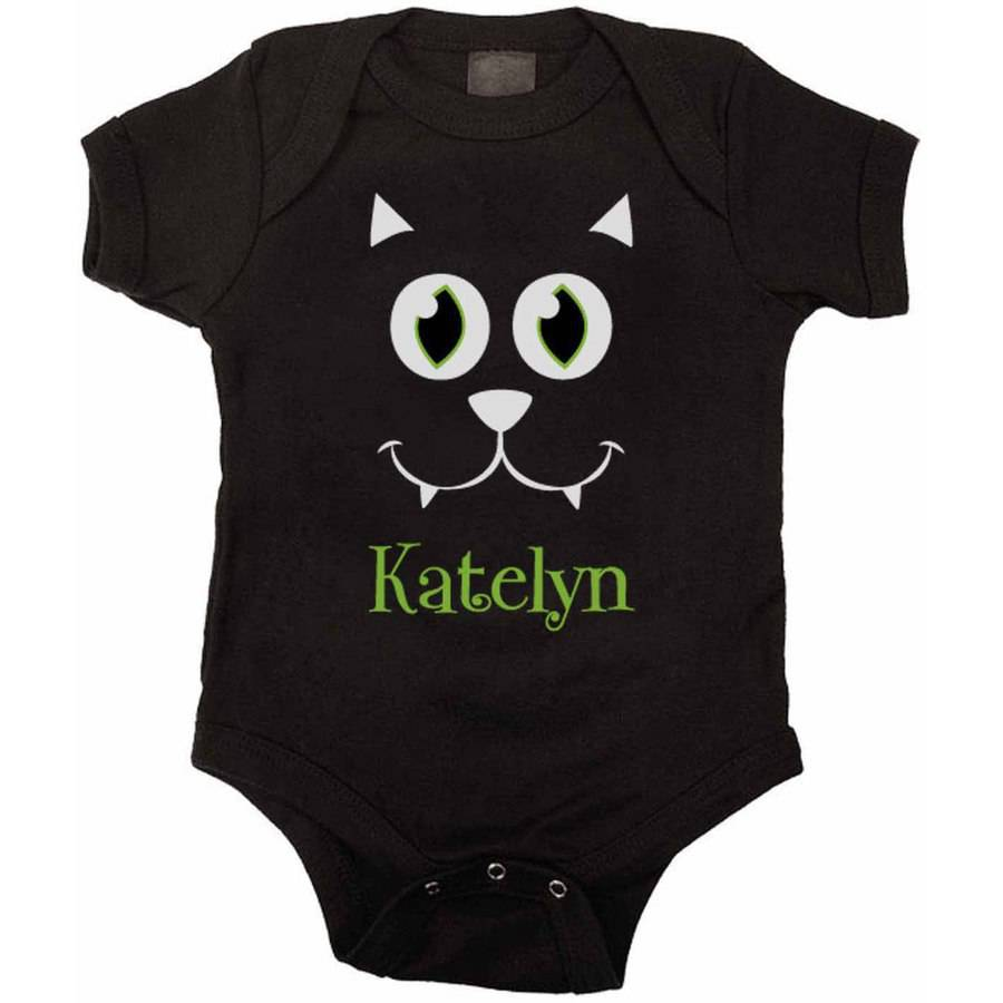 Personalized Big Face Black Cat Bodysuit