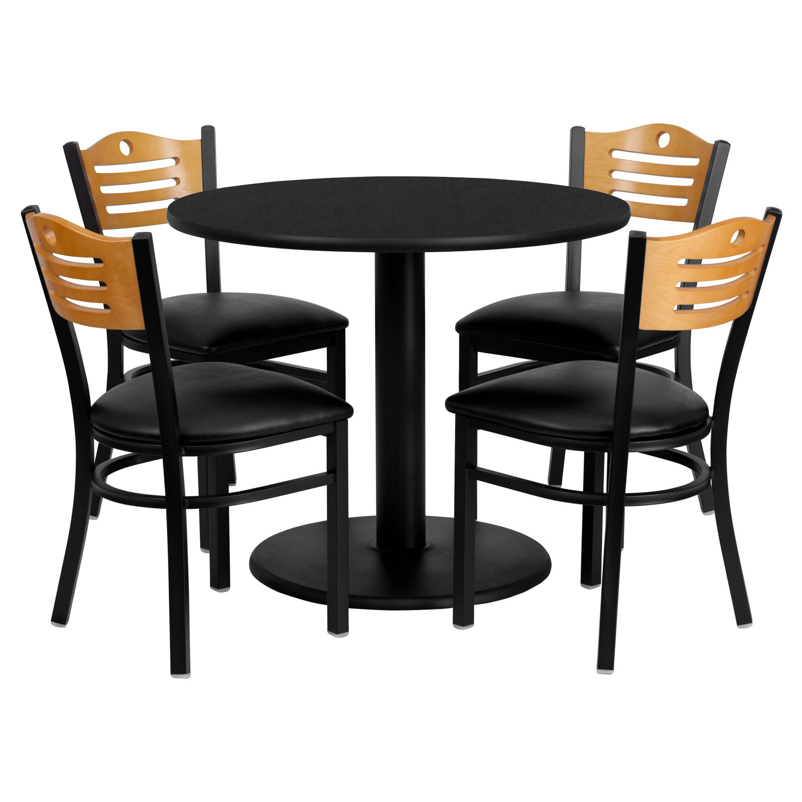 Flash Furniture 36'' Round Black Laminate Table Set with 4 Wood Slat Back Metal Chairs, Black Vinyl Seat