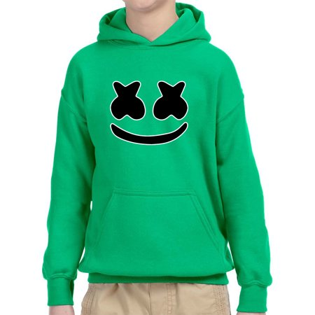 Trendy USA 1136 - Youth Hoodie Marshmello DJ Smiley Face Unisex Pullover Sweatshirt Medium Kelly Green ()
