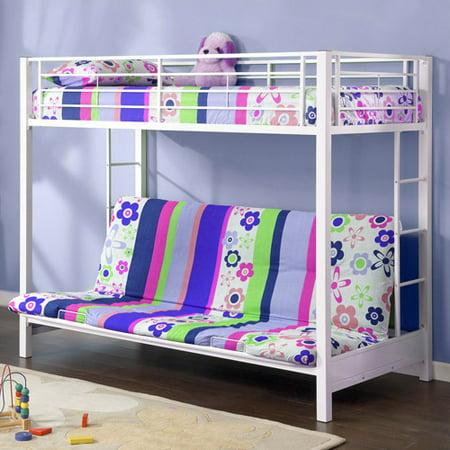 Premium Twin Over Futon Metal Bunk Bed, White - Walmart.com