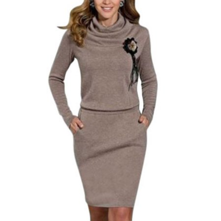 Nicesee Women's Long Sleeve Cowl Collar Pullover Sweater (Striped Cowl Neck Sweater Dress)
