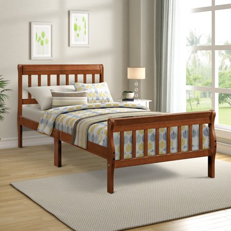 save off f84bb dafe2 Platform Bed Frame, Twin Size Bed Frame, Wood Mattress Foundation Sleigh  Bed Frame with Headboard/ Footboard for Adults Teens Children, Walnut Twin  ...