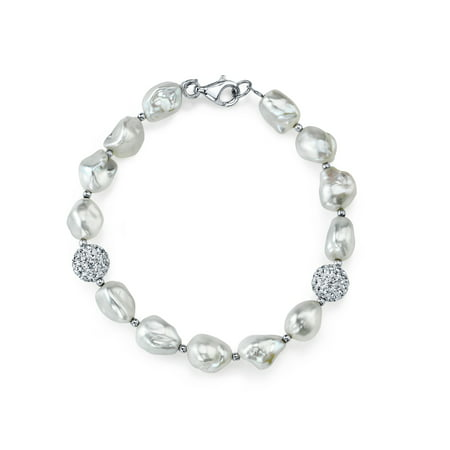 7mm Baroque White Freshwater Cultured Pearl & Crystal - Strand 7mm White Pearl Bracelet
