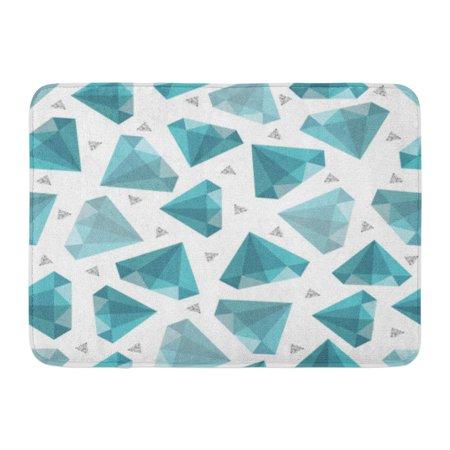 GODPOK Brilliant Abstract Jewelry Pattern on Grey Stripe Blue Diamond Silver Glitter Bright Crystal Rug Doormat Bath Mat 23.6x15.7 inch (Gray Silver Pattern)