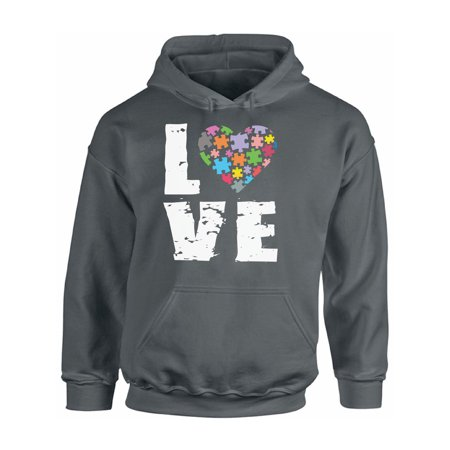 Awkward Styles Unisex Love Puzzles Autism Awareness Graphic Hoodie Tops Autistic Support (Autism Awarness)
