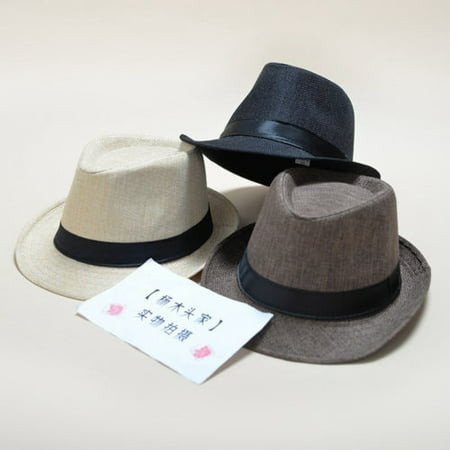 Mens Ladies Straw Fedora Sun Hat Panama Trilby Crushable Foldable Travel Cap