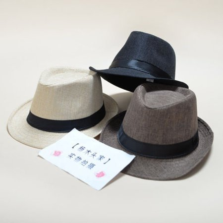 - Mens Ladies Straw Fedora Sun Hat Panama Trilby Crushable Foldable Travel Cap