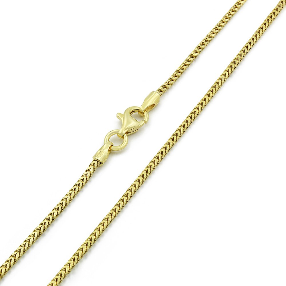Yellow Gold Plated Square Box Link Chain Necklace 16-30,... FREE Microfiber Cloth 925 Italian Sterling Silver 1mm Solid Franco Chain