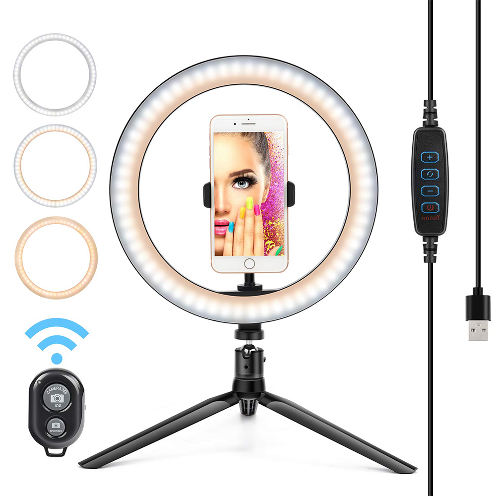 Peroptimist Led Ring Light With Cell Phone Holder For Youtube Video And Streaming Dimmable Desktop Makeup Ring Light For Photography Lighting With 3 Light Modes And 10 Brightness Level Walmart Com Walmart Com