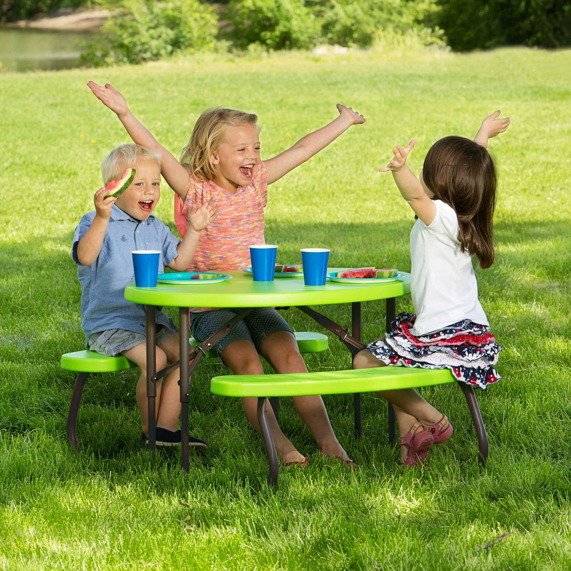 Lifetime Children\u0027s Oval Picnic Table, Lime Green - Walmart.com