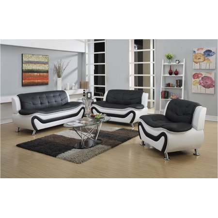 Frady 3 pc Black and White Faux Leather Modern Living Room Sofa ...