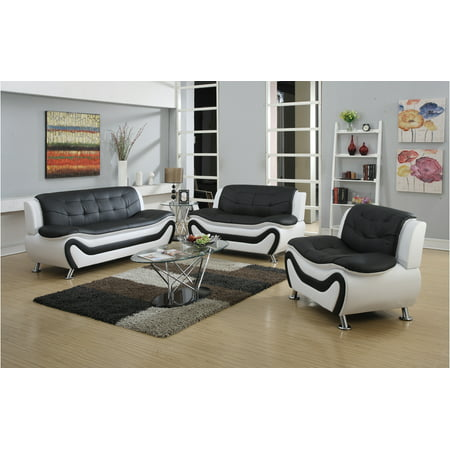 - Frady 3 pc Black and White Faux Leather Modern Living Room Sofa set