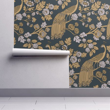 - Wallpaper Roll Peacock Rococo Baroque Chinoiserie Ornamental 24in x 27ft