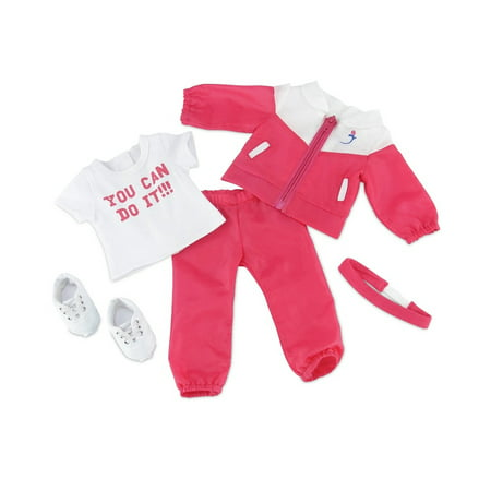 18 Inch Doll Clothes | 5-piece Running/ Sports/ Warm-up Outfit, Including Pink Jacket and Matching Pants, T-Shirt, Stretch Headband and Running Shoes | Fits American Girl Dolls for $<!---->