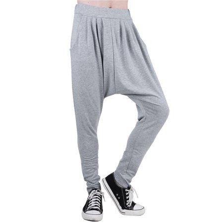 Men's Elastic Waist Slant Pockets Tapered Leg Baggy Harem - 80s Baggy Printed Pants