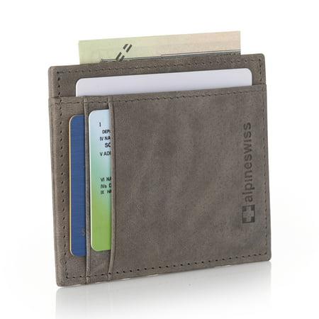 Alpine Swiss RFID Safe Front Pocket Wallet Leather Thin Minimalist ID Card
