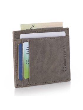 Alpine Swiss RFID Safe Front Pocket Wallet Leather Thin Minimalist ID Card Case