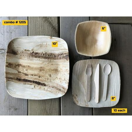 "Bio Mart Leaf Tableware/100% Natural-Eco-friendly/Disposable/Biodegradable/PartyBBQ-COMBO FAMILY - PARTY PACK Elegant Square - 10"" Dinner + 8"" Salad + 6"" soup bowls + Cutleries -10 each - image 1 de 1"