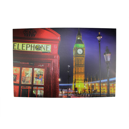 Northlight Seasonal Battery Operated 6 LED Lighted London Scene with Phone Booth and Big Ben Photographic Print on Canvas